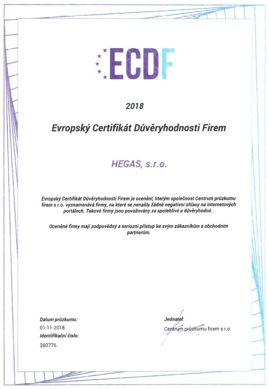 certifikáty společnosti HEGAs